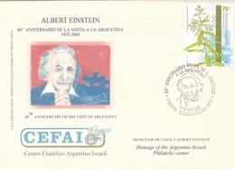 ALBERT EINSTEIN, 80° ANNIVERSARY OF HIS VISIT TO ARGENTINA, CEFAI. 2005 FDC ISRAEL JUDAISMO יהדות ישראל -LILHU - Joodse Geloof