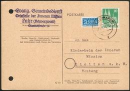 Postkarte Evang. Gemeinde Lahr/Schwarzwald Nach Stetten A.k.M. Heuberg Mit 10Pfg Bauten + Notopfer Berlin - Storia Postale