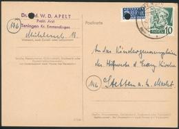 Postkarte Tenningen Kr. Emmendingen Nach Stetten A.k.M. Heuberg Mit Baden 10 Pfg. + Notopfer Berlin - Zona Anglo-Americana