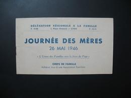 Journée Des Mères 26 Mai 1946 Délégation Régionale à La Famille - Commemorative Labels
