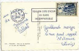 VAR CP 1954 *P.P.* TOULON SUR MER OMEC SECAP DES PORT PAYE RARE UTILISATION NON REGLEMENTAIRE SUR COURRIER TIMBRE - Marcophilie (Lettres)