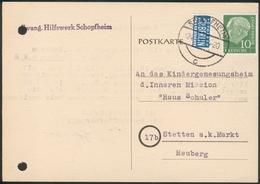 Postkarte Evang. Hilfswerk Schopfheim Nach Stetten A.k.M. Heuberg Mit 10Pfg Köpfe + Notopfer Berlin - Storia Postale