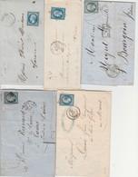 30 Lettres Avec N° 14 - Plus De 90 Timbres N° 14 ( Nuances - Oblitérations - Petits Chiffres ..... ) VOIR SCANS - 1853-1860 Napoléon III