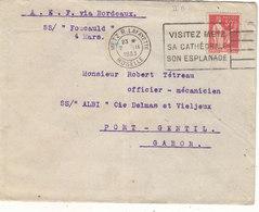 """T.RARE ENVELOPPE TIMBREE.1933.TYPE PAIX.50CT IIB.DU SS """"FOUCAULD """""""" AU SS """"ALBI """" A PORT-GENTIL AU GABON.B.ETAT. - Marcophilie (Lettres)"""