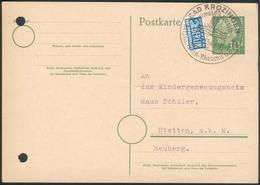 Ganzsache Bad Krozingen Nach Stetten A.k.M. Heuberg Mit 10Pfg Köpfe + Notopfer Berlin - Storia Postale