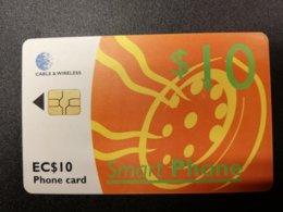 SAINT LUCIA  $10 CHIPCARD Orange Color  New  Logo C&W **279 ** - Saint Lucia