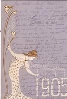 BONNE ANNEE 1905 / TRES BELLE CARTE GAUFFREE / ART DECO - Nouvel An