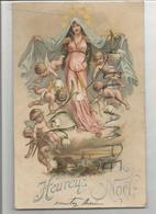 """Vierge Couronnée D'étoiles Et Ribambelle D'anges Avec Brins De Muguet. Eglise Mosane:""""Heureux Noël"""" Argenté. - Noël"""