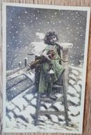 CPA FANTAISIE NOEL Enfant Avec Ailes D'Ange Longue-Vue Arc Lanterne Sur Un Toit . LE NORMAND - Christmas