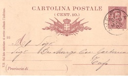 Aversa. 1893. Annullo Grande Cerchio AVERSA, Su Cartolina Postale - 1878-00 Umberto I
