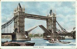 AK / PC England London Tower Bridge Tuck's 1951 Kensington + German Railway #32 - River Thames