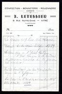 Facture - Cofection-Bonneterie-Rouennnerie - Corsets- J. LETESSIER Vitré ( 35 Ille & Vilaine ) - Old Professions