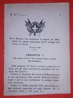 Decreto Regno Italia - Costituzione Monteiasi In Sezione Di Lecce - 1884 - Vieux Papiers