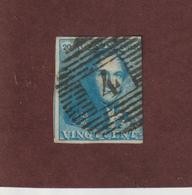 2 De 1849 - BELGIQUE - Oblitéré - Léopold 1er - 20c. Bleu Clair  - 2 Scannes - 1849 Mostrine