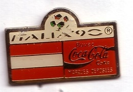 C280 Pin's Football Coupe Monde Italie Coca Cola Coke Drapeau Austria Autriche Achat Immédiat - Coca-Cola