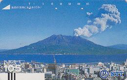 Télécarte Ancienne JAPON / NTT 390-026 - VOLCAN TBE - VULCAN JAPAN Front Bar Phonecard - VULKAN - Vulkanen
