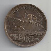 MEDAILLE BRONZE PAQUEBOT LE NORMANDIE 1935 De JEAN VERNON  Superbe - Profesionales / De Sociedad