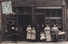 Carte Photo Commerce Devanture Bougnat Chaussures Charbons Vins Liqueurs - Bar, Alberghi, Ristoranti