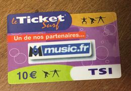 M6 MUSIC TICKET SURF 10 EURO FRANCE TELECOM CARTE INTERNET 2007 UT CARTE A CODE PHONECARD NO TELECARTE - France