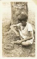 Real Photo Filipino Boy And Baby Python Olongapo. Snake . Serpent - Filippine