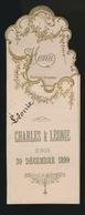 MENU CHARLES & LEONIE UNIS 30 DECEMBER 1899    20 X 7.5 CM  2 SCANS - Menus