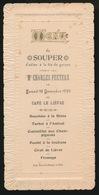 MENU DU SOUPER D'ADIEU A LA VIE DE GARCON Mr CHARLES PEETERS  1899 - SNOECK DUCAJU ET FILS GAND  17 X 8 CM - Menus