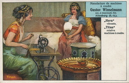 Pretty Arabic Girl Sewing .Art Card Advert For Titan Sewing Machine . Altenburg . Winselmann. Machine à Coudre - United Arab Emirates