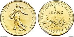 MONNAIE 1 FRANC  SEMEUSE OR PL 1977 ETAT SUP - Or