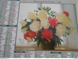 Almanach /calendrier /La Poste / Oberthur 1998 BOUQUET DE PIVOINE  BOUQUET DE CAMPANULES, ROSES ET POIS DE SENTEUR - Grand Format : 1991-00