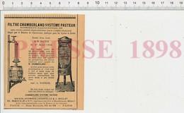 Presse 1898 Publicité Filtre Chamberland Système Pasteur Hermann-Lachapelle & Boulet H. Brulé Rue Boinod Paris 222ZE - Unclassified