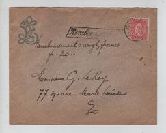 REF507/ TP 58 FB S/L.c.Remboursement De 20 Frs C.Bruxelles (R.de La Chancellerie) 10/2/1902 > E/V - 1893-1900 Fine Barbe