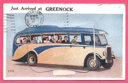 Cp Système 12 Vues - Leporello - Greenock - Bus - Edit. NOVELTY - Oblitération à L'envers + Griffe TAXE 1951 - Multivues - Renfrewshire