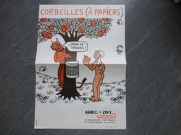 Illustrateur JEAN EFFEL, Corbeille(s) à Papiers (pomme, Eve Nue), Affichette Ancienne ORIGINALE ; PAP10 - Affiches