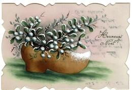 Carte Celluloïd Peinte à La Main - Heureux Noël - Sabot / Gui - 1920 - 2 Scans - Weihnachten