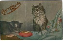 Carte Illustrateur - Les Chatons Et La Cigarette - Circulée En 1922 - 2 Scans - Gatti