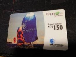 CARIBBEAN ISLANDS EC $ 150, SAIL BOATS -PREPAID CELLULAIR FREEDOM, Used ** 336** - Altri – America