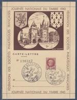 = Journée Nationale Du Timbre 1943 Carte Lettre Saint Brieuc 10 Octobre N°517 Type Pétain De Bersier 1f50 Brun-rouge - Journée Du Timbre