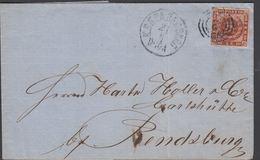 1862. 2 + KDOPA HAMBURG 21 6 To RENDSBURG.  4 S KGL POST FRIM. RENDSBURG 22 6 () - JF321183 - 1851-63 (Frederik VII)