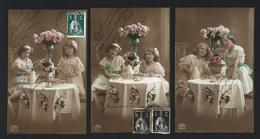 Set Of 3 Old Real Photo Postcards: Edwardian Children TEA TIME. Lot R&KL 1910s GERMANY - Retratos