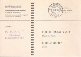 Geschäftsantwortkarte  Kleindöttingen (Aargau) - Maag, Dielsdorf           1953 - Suisse