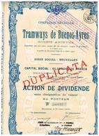 Titre Ancien - Compagnie Générale Des Tramways De Buenos Ayres -  Titre De 1907 - 1921 - Chemin De Fer & Tramway
