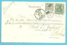 Kaart Uit KEVELAER/Duitsland Naar LIEGE, Hergefrankeer 81 Met Stempel Facteur 45 !! (reexpedie) --> MONT-ST-GUIBERT - 1893-1907 Armoiries