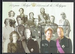175 Ans De La Belgique : Portrait Du Roi Albert II Et De La Reine Paola - Blokken 1962-....