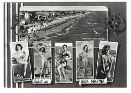 4446 - IGEA MARINA LA SPIAGGIA ANIMATA DONNE RAGAZZE GIRLS PIN UP 1950 CIRCA RIMINI - Italia