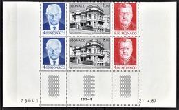 MONACO 1987 - BLOC DE 2 TRIPTYQUES COIN DE FEUILLE / DATE  N° 1562 A 1564 (1564A ) - NEUFS** - Monaco