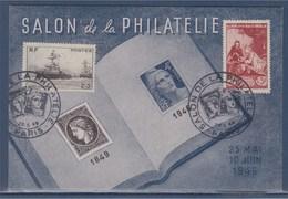 = Salon De La Philatélie 25 Mai Au 10 Juin 1946 Paris 30.5.46 N°752 Oeuvres De La Marine 753 Musé Postal - Expositions Philatéliques
