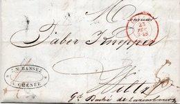 LAC DE 1850 - WILTZ (Grd Duché De Luxembourg) - Obli.Rouge De Liège - Port De 50 Décimes - Chênée - Bastogne - 1850 - Belgique