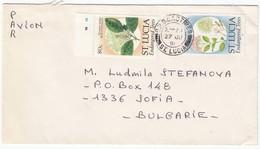 St. Lucia 1991 - 80+10 C. - Flowers, Letter PAR AVION From Castries To Sofia/Bulgaria - St.Lucia (1979-...)
