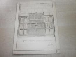 Ancien Dessin Original(signé) RELEVE D'ANCIEN MEUBLE WESTERLOO 1909 - Alte Papiere