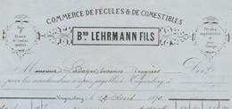 Facture 1873 / B. LEHRMANN / Fécules Et Comestibles / 68 Kaiserberg / Orge Pour Brasserie Ladague Bruyères 88 - France